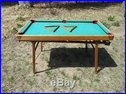 Vintage 1930's Burrowes Folding Legs Wood Mini Pool Table