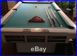 Vintage 1950s 60s White Brunswick pool table bundle- VG condition