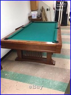 Vintage 8 foot Brunswick Billiards Mission Style Cherry Pool Table