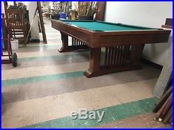Vintage 9 foot Brunswick Billiards Mission Style Cherry Pool Table