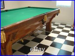 Vintage Brunswick Balke Collender Fancy Pfister Billiards Pool Table Beautiful