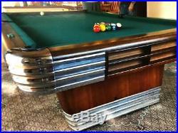 Vintage Brunswick Billiards Mid Century Modern 9' Centennial Pool Table Art Deco