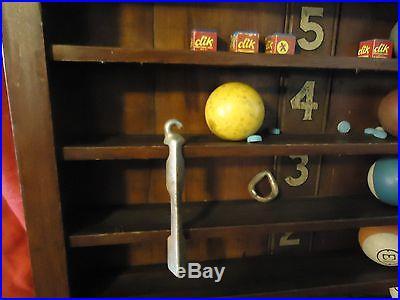 Vintage Brunswick billiard ball wall rack /org. 1940's / balls / beads& tip clamp