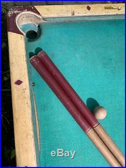 Vintage Burrowes Folding Wood Mini Pool Table withCues Sticks & 15 Original Balls