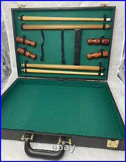 Vintage Leather Suitcase Mini Pool Table Complete Set