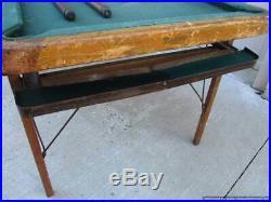 Vintage rare Burrowes folding Wood Mini Pool Table w Ball Return For Restoration