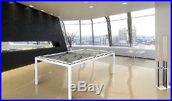 White 8' Modern Convertible Pool Billiard Table'Ultra' dining/desk/game table